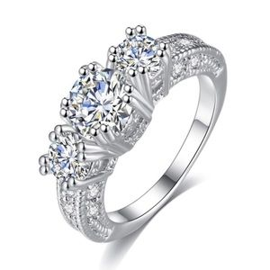 Jewelry - Sterling Silver 3 Stone Engagement Ring